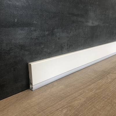 """Licht - Sockelleiste / Licht - Fußleiste """"Canelli"""" 16 x 85 mm weiß foliert"""