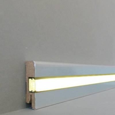 """Licht - Fußleisten / Licht - Sockelleisten """"Chemnitz"""" (MDF foliert / 716.732L) - Aluminium gebürstet Gr.2"""