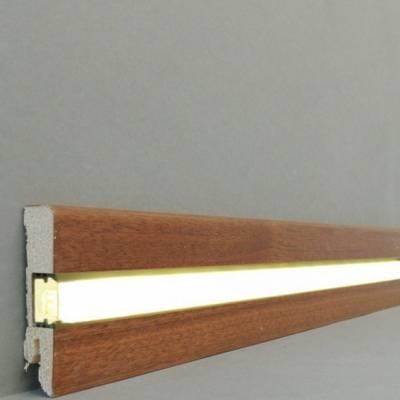 "Licht - Fußleisten / Licht - Sockelleisten ""Lübeck""(Echtholzfurnier - 16.61.11L) - Mahagoni lackiert"
