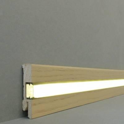 """Licht - Fußleisten / Licht - Sockelleisten """"Lübeck"""" (Echtholzfurnier - 16.61.36L) - Eiche weiß lackiert"""