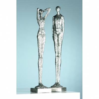 Design-Skulpturen-Set ?Millenium? / Antiksilber, 60 cm