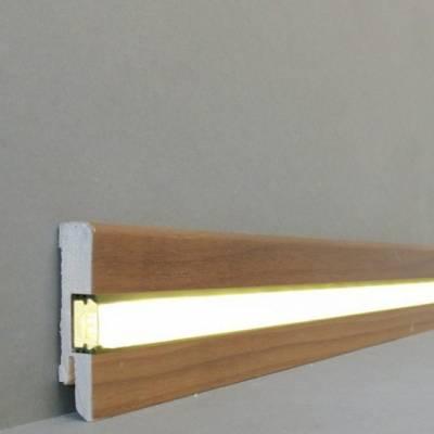 """Licht - Fußleisten / Licht - Sockelleisten """"Lübeck"""" (Echtholzfurnier - 16.61.23L) - Nussbaum lackiert"""
