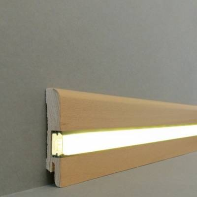 "Licht - Fußleisten / Licht - Sockelleisten ""Erfurt"" (Echtholzfurnier / 15.7.2L) - Buche lackiert"