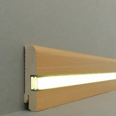 "Licht - Fußleisten / Licht - Sockelleisten ""Kiel"" (Echtholzfurnier - 20.80.2L) - Buche lackiert"