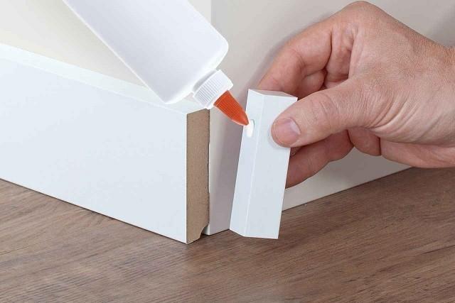 Fußleisten Weiß Holz universal holzecken 22 x 22 x 118 innen außen für sockelleisten